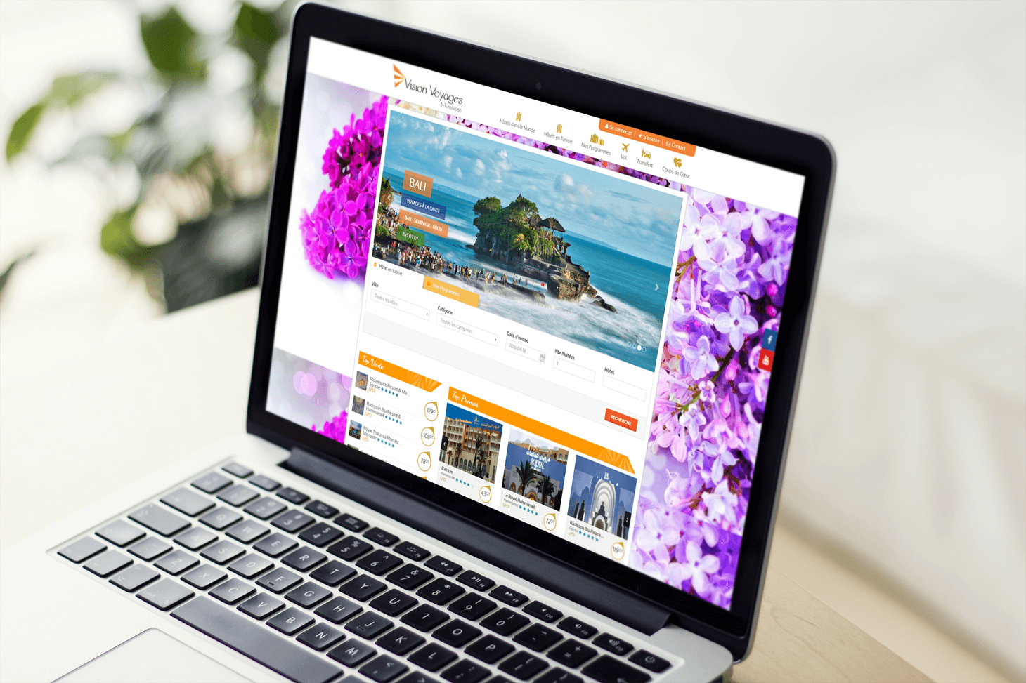 Site E-tourisme Vision voyages